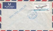 1971 STRIKE MAIL CITY OF LONDON 15p TRANSATLANTIC STAMP DECIMAL DAY AIRMAIL ENVb