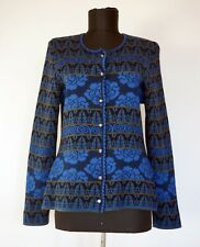 OLEANA Floral Merino Wool/Silk Knitted Blue/Olive Cardigan, Size:M