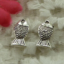 free ship 140 pieces Antique silver fish charms 14x7mm #3619