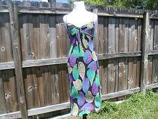 Fabulous Vintage Betsey Johnson Multi-Color Leaf Print Silk Slip Dress P