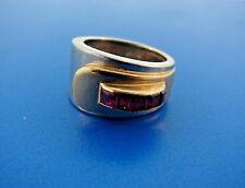 RETRO 18k Yellow Gold, Silver & Ruby Ring