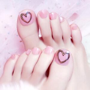 Glitter Geometric Heart False Toe Nails Full Cover Press On Nails Fake Toenails