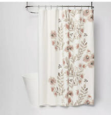 "New Threshold Coral Blooms Floral Shower Curtain   72"" x 72"""