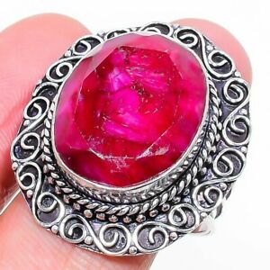 Kashmir Red Ruby Gemstone Ethnic 925 Sterling Silver Jewelry Ring Size 8.5 T838