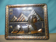 Giza 1950s Egyptian 3D Sphinx Pyramid Pharaoh copper brass Hieroglyph wall plate