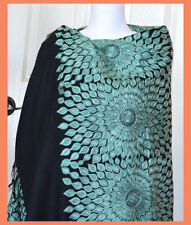 Green Embroidered 100% Wool Black Color Shawl Wrap from India