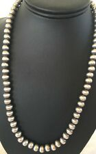 Native American Navajo Pearls 8mm Sterling Silver Bead Necklace 23""