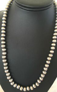 "Navajo Pearls Classic 8 mm Sterling Silver Bead Necklace 24"" Sale"