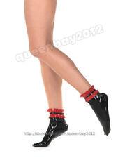 100% Latex Rubber Gummi 0.45mm Rüschen Socken Socks Kostüm Schwarz Neu