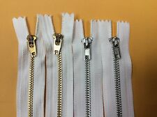 "Lot of 24  White Metal Brass Jean Tailor Close End White Zippers 7"" & 8"""