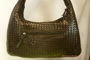 X-Large BASKETWEAVE Brown Woven Supple Faux Leather HOBO Shoulder Bag Tote Purse