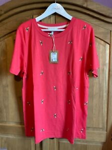 JOULES WOMENS SELMA CLEAN CREW POP NECK TRIM T-SHIRT PINK BEES - SIZE 16