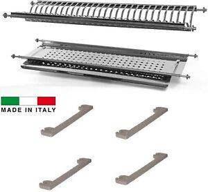 Scolapiatti in Acciaio Inox di lunghezza variabile Completo di supporti laterali
