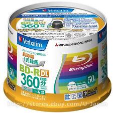 50 Verbatim Blu ray Blank Media 4X Speed 50GB BD-R DL Blueray Printable Spindle
