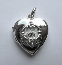 Sterling Silver Heart shaped Cubic Zirconia Claddagh Locket 5.5g