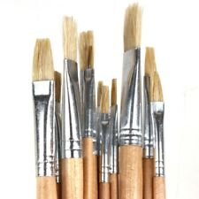 12 Natural Bristle Long Paint Brushes Artist Art Painting Thin Thick Small Large