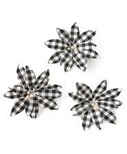 3 Large White & Black Buffalo Plaid Poinsettia Christmas Tree Clip Ornaments