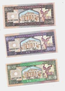 3 SOMALILAND BANKNOTES, 5 / 10 / 20 SHILLING, UNC 1994 PIC#1.2.3