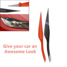 2Pcs Fit for BMW 3 Series Carbon Fiber Auto Headlight Eyelid Cover Trim Sticker