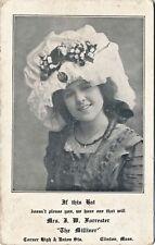 "c1905 Advertising Postcard ""The Milliner"" Clinton, Massachusetts, Fluffy Hat"