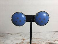 Vintage Silver-Tone Round Blue Polished Stone Stars Clip On Earrings #A47