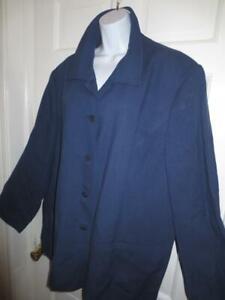 LANDS' END Womens Plus NAVY BLUE LINEN & RAYON Blazer JACKET Coat 24W 24 W 3X