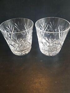 2 Royal Doulton Large Heavy Crystal Whisky Glasses