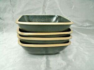 "Dansk SANTIAGO Black Set of 4-6+"" Square Soup Cereal Bowl Tan Rim Stoneware HTF"