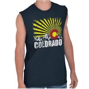 Colorado Flag Rocky Mountains Vacation Gift Adult Sleeveless Crewneck T Shirt