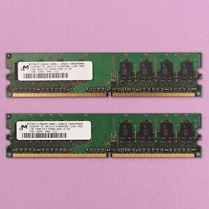 2GB (2x 1GB) Micron DDR2 PC2-6400U 800Mhz CAS6 2x1GB Memory RAM Kit
