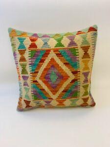 Genuine Multi Coloured Antique Cushion Cover of Afghan Handmade Wool Kilim