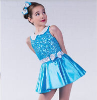 In Stock Classic Blue Sequin Bodice Modern Tap Jazz Dress Dance Costume