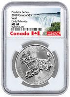 2018 Canada Predator Series -Wolf 1 oz Silver Proof $5 Coin NGC MS69 ER SKU53489