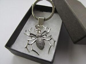 Handmade Large Spooky Tibetan Silver Black Spider Keyring Charm - Gift Idea