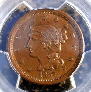 Beautiful PCGS CAC MS61 BN 1857 Last Year Large Cent Mintage only 333,456