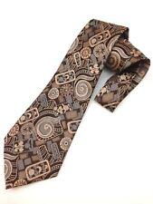 True Vintage Mens Necktie Kipper Wide Neck Tie Boho Paisley Brown Jacquard Woven