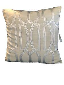 """Three Pale Grey Silver Geometric Cushion cover 16.5"""" D/ Side Modern Prestigious?"""