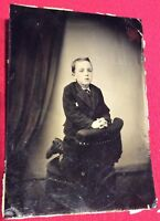 Antique Victorian Rare Unusual Photo Tintype Of A Kneeling Young Boy
