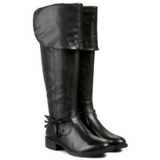 Tamaris 25575 Black Leather Over Knee / Pirate Cuff BOOTS Size UK 4