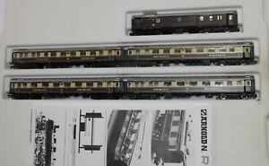 """Arnold Spur N 0142 fünfteiliges Wagen-Set """"Rheingold"""" mit Innenbeleuchtung OVP"""