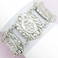 Vtg Art Deco Sterling Silver Repousse HOLLY LEAF Flower Wide Bracelet