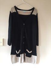 Womens Blue Illusion 100% viscose long cardigan tunic top dress sz L black beige