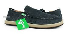 Sanuk Vagabond Grain Slub Black Shoes Mens Size 9 *NEW*