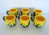 Majolica Corn Mugs Set of 6 Coffee Cups Mid Century Modern Farmhouse Estate Lot