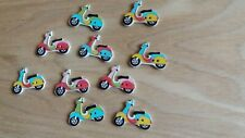 10 x  Wood Buttons  -  Multicolored Retro Scooters  -  2.5 x 2 cm