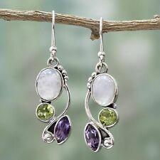 925 Silver Multi-gemstone Rainbow Moonstone&Peridot Dangle Hook Earrings Jewelry