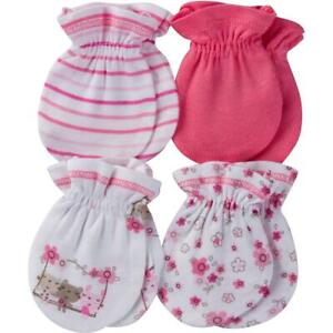 Gerber Baby Girl 4 Pack Mittens Accessory, Lil' flowers, 0-3 Months