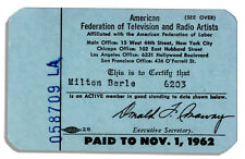 Milton Berle 1962 Membership Card to AFTRA