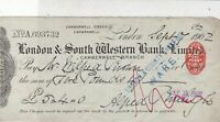 London & South Western Bank Limited 1902 Camberwell Branch Stamp Cheque Rf 34066
