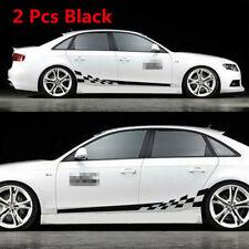 2 Pcs Black Long Stripes Styling Car Body Side Vinyl Graphics Waterproof Sticker